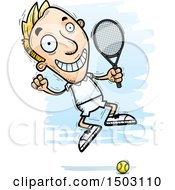 Clipart Of A Jumping Caucasian Man Tennis Player Royalty Free Vector Illustration