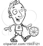 Clipart Of A Black And White Dribbling Male Basketball Player Royalty Free Vector Illustration