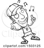 Clipart Of A Black And White Male Basketball Player Doing A Happy Dance Royalty Free Vector Illustration
