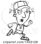 Clipart Of A Black And White Tired Running Male Basketball Player Royalty Free Vector Illustration