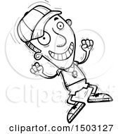 Clipart Of A Black And White Jumping Male Basketball Player Royalty Free Vector Illustration