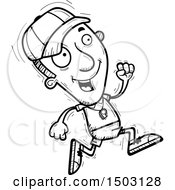Clipart Of A Black And White Running Male Basketball Player Royalty Free Vector Illustration