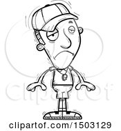 Clipart Of A Black And White Sad Male Basketball Player Royalty Free Vector Illustration