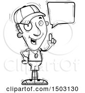 Clipart Of A Black And White Talking Male Basketball Player Royalty Free Vector Illustration