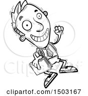 Clipart Of A Black And White Jumping Male Private School Student Royalty Free Vector Illustration