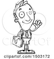 Clipart Of A Black And White Waving Male Private School Student Royalty Free Vector Illustration