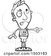 Clipart Of A Black And White Mad Pointing Male Track And Field Athlete Royalty Free Vector Illustration
