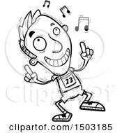 Clipart Of A Black And White Male Track And Field Athlete Doing A Happy Dance Royalty Free Vector Illustration