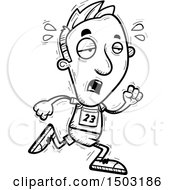 Clipart Of A Black And White Tired Running Male Track And Field Athlete Royalty Free Vector Illustration
