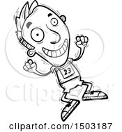 Clipart Of A Black And White Jumping Male Track And Field Athlete Royalty Free Vector Illustration