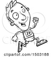 Clipart Of A Black And White Running Male Track And Field Athlete Royalty Free Vector Illustration