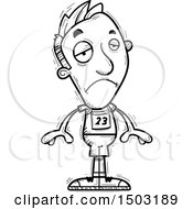 Clipart Of A Black And White Sad Male Track And Field Athlete Royalty Free Vector Illustration