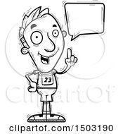 Clipart Of A Black And White Talking Male Track And Field Athlete Royalty Free Vector Illustration