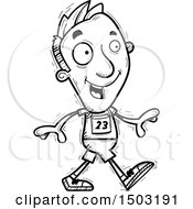 Clipart Of A Black And White Walking Male Track And Field Athlete Royalty Free Vector Illustration