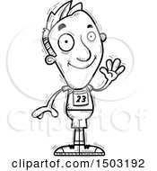 Clipart Of A Black And White Waving Male Track And Field Athlete Royalty Free Vector Illustration