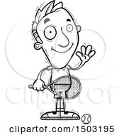 Clipart Of A Black And White Waving Caucasian Man Tennis Player Royalty Free Vector Illustration