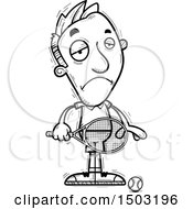 Clipart Of A Black And White Sad Caucasian Man Tennis Player Royalty Free Vector Illustration