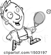 Clipart Of A Black And White Running Caucasian Man Tennis Player Royalty Free Vector Illustration