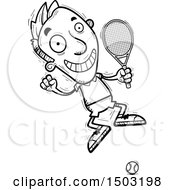 Clipart Of A Black And White Jumping Caucasian Man Tennis Player Royalty Free Vector Illustration