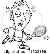 Clipart Of A Black And White Tired Caucasian Man Tennis Player Royalty Free Vector Illustration
