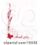 Pretty Red Butterfly Border With Plants And Faded Butterflies Over White Which Would Be Great For Stationery Clipart Illustration