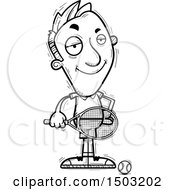 Clipart Of A Black And White Confident Caucasian Man Tennis Player Royalty Free Vector Illustration