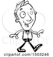 Clipart Of A Black And White Walking Caucasian Man In A Tuxedo Royalty Free Vector Illustration