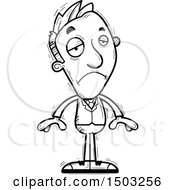 Clipart Of A Black And White Sad Caucasian Business Man Royalty Free Vector Illustration