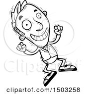 Clipart Of A Black And White Jumping Energetic Caucasian Business Man Royalty Free Vector Illustration