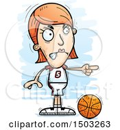 Clipart Of A Mad Pointing White Female Basketball Player Royalty Free Vector Illustration