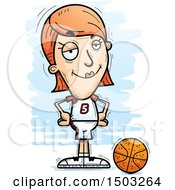 Clipart Of A Confident White Female Basketball Player Royalty Free Vector Illustration