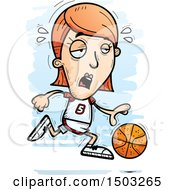 Clipart Of A Tired Running White Female Basketball Player Royalty Free Vector Illustration