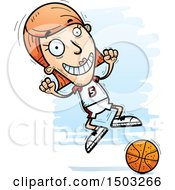 Clipart Of A Jumping White Female Basketball Player Royalty Free Vector Illustration