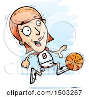 Clipart Of A Running White Female Basketball Player Royalty Free Vector Illustration