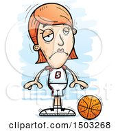 Clipart Of A Sad White Female Basketball Player Royalty Free Vector Illustration