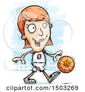 Clipart Of A Dribbling White Female Basketball Player Royalty Free Vector Illustration