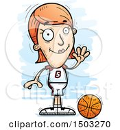 Clipart Of A Waving White Female Basketball Player Royalty Free Vector Illustration