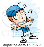 Clipart Of A White Female Coach Doing A Happy Dance Royalty Free Vector Illustration