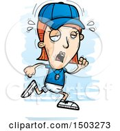 Clipart Of A Tired Running White Female Coach Royalty Free Vector Illustration