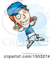 Clipart Of A Jumping White Female Coach Royalty Free Vector Illustration