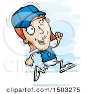 Clipart Of A Running White Female Coach Royalty Free Vector Illustration