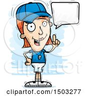 Clipart Of A Talking White Female Coach Royalty Free Vector Illustration