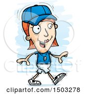Clipart Of A Walking White Female Coach Royalty Free Vector Illustration