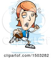 Clipart Of A Tired Running White Female Football Player Royalty Free Vector Illustration