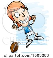 Clipart Of A Jumping White Female Football Player Royalty Free Vector Illustration