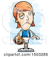 Clipart Of A Sad White Female Football Player Royalty Free Vector Illustration