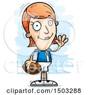 Clipart Of A Waving White Female Football Player Royalty Free Vector Illustration