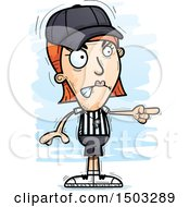 Clipart Of A Mad Pointing White Female Referee Royalty Free Vector Illustration