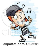 Clipart Of A White Female Referee Doing A Happy Dance Royalty Free Vector Illustration