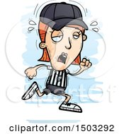 Clipart Of A Tired Running White Female Referee Royalty Free Vector Illustration by Cory Thoman
